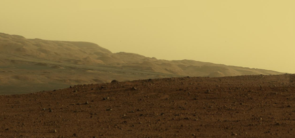 A Summer 2012 photograph by NASA's Curiosity rover inside Gale Crater on Mars.